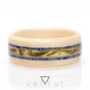 Yosunlu ve Lapis Lazuli Şeritli Sarma Ahşap Yüzük