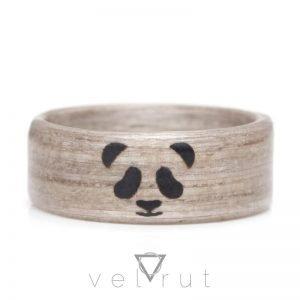 Panda Figürlü Sarma Ahşap Yüzük