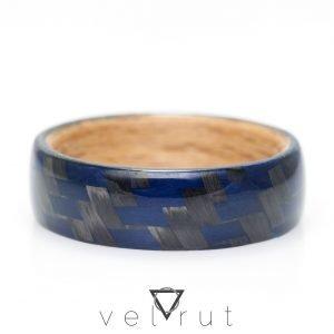 Twill Karbon Fiber/Mavi Kevlar Kaplamalı Sarma Ahşap Yüzük