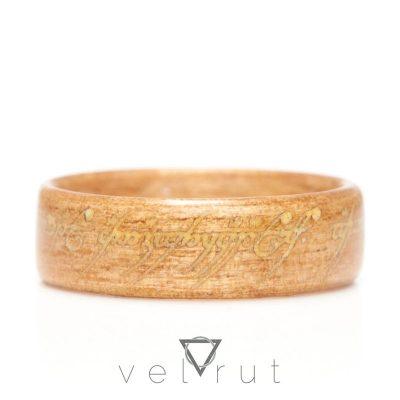 velrut lotr lord of the rings one ring yüzüklerin efendisi tek yüzük fosforlu sarma ahşap yüzük anigre ağacı parlayan