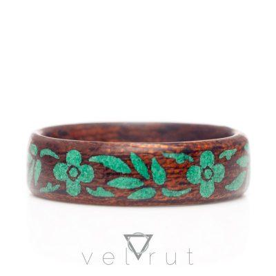 velrut tam tur çiçek motif yeşil malahit taş koyu maun ağacı sarma ahşap yüzük