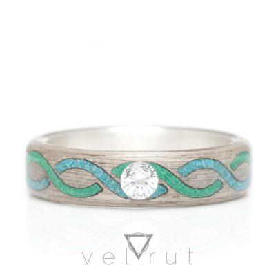 velrut örgü sarmal motif turkuaz malahit malakit taş tektaşlı gümüş astarlı gri ayous ağacı sarma ahşap yüzük